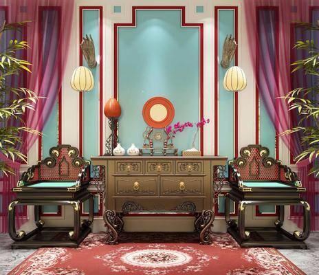 桌椅组合, 单椅, 单人椅, 中式单椅, 中式桌椅组合, 壁灯, 边柜, 装饰柜, 摆件, 植物, 盆栽, 花瓶, 中式, 双十一