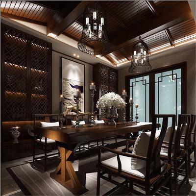 书房, 书桌, 单人椅, 装饰画, 挂画, 吊灯, 摆件, 装饰柜, 新中式