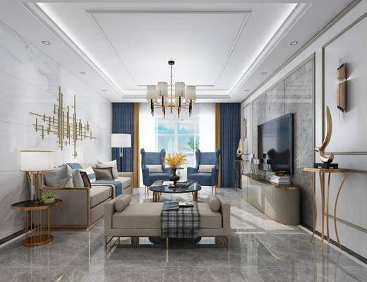 现代客厅, 现代餐厅, 客厅, 餐厅, 沙发茶几, 电视柜, 吊灯, 墙饰, 壁灯, 餐桌, 椅子, 挂画, 餐具