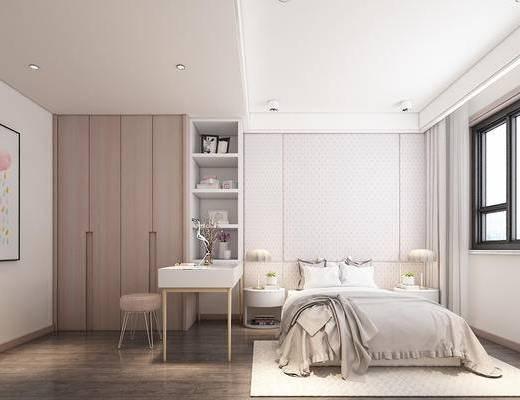 女儿房, 卧室, 现代, 床, 书桌, 椅子, 柜子