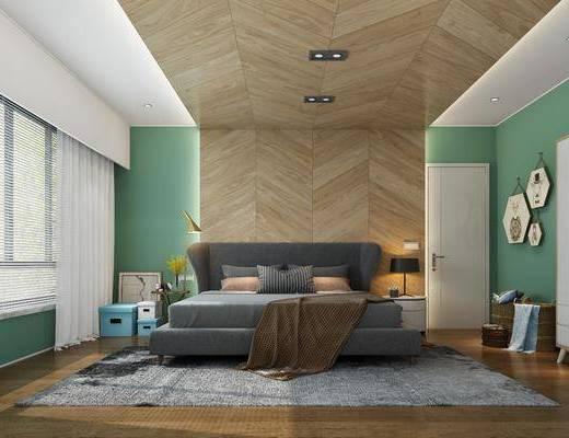 卧室, 床具组合, 北欧卧室, 挂件, 植物, 北欧