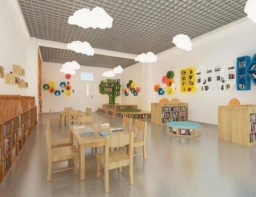 幼儿园, 教室, 吊灯, 墙饰, 桌椅组合