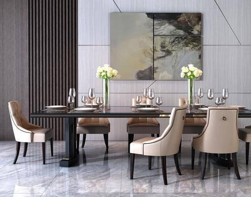 后现代餐桌椅, 后现代, 餐桌椅, 椅子, 花瓶, 装饰画