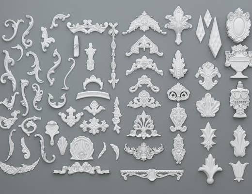 欧式, 简欧, 石膏, 雕花, 石膏件