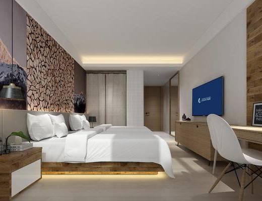 酒店客房, 双人床, 床头柜, 吊灯, 单人椅, 书桌, 电视柜, 边柜, 摆件, 装饰品, 陈设品, 现代