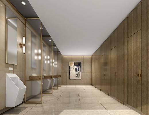 现代酒店卫生间, 现代, 卫生间, 洗手盆, 卫生间门