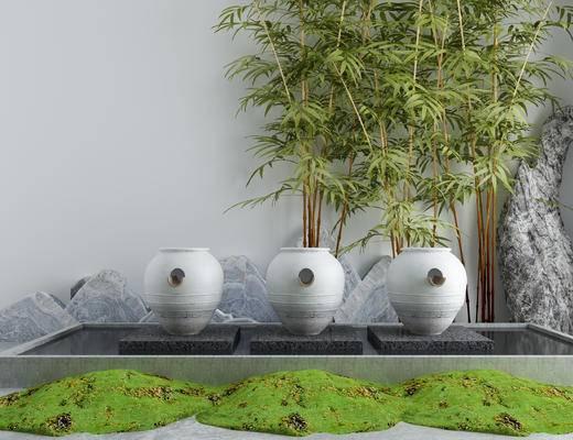 流水喷泉, 景观小品, 假山, 竹子