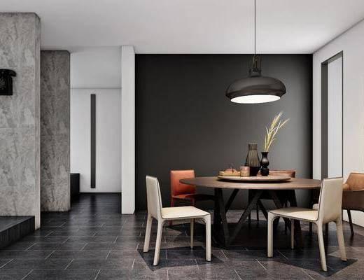 现代餐厅, 餐桌椅, 桌椅组合, 吊灯, 椅子, 餐桌