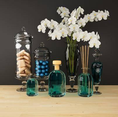 摆件组合, 装饰品, 花瓶, 花卉, 陈设品, 现代