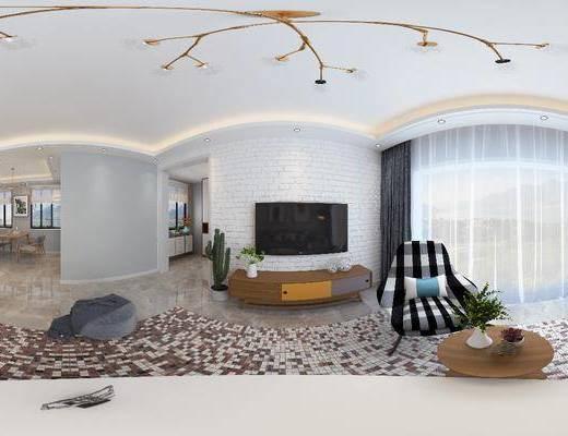 客廳, 餐廳, 沙發組合, 沙發茶幾組合, 邊柜組合, 家裝全景, 餐桌椅組合, 擺件組合, 北歐