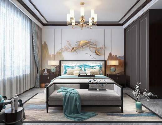 新中式, 卧室, 双人床, 床尾凳, 边柜, 台灯, 吊灯, 边几, 单人沙发