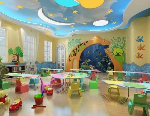 幼儿园教室, 桌子, 椅子, 玩具, 书柜, 书籍, 吸顶灯, 现代