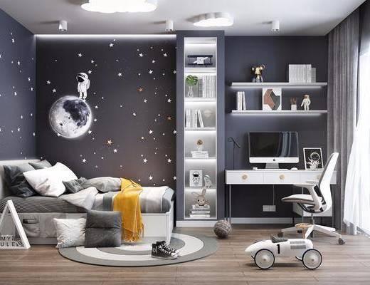 儿童床, 电脑桌, 电脑椅, 书架, 装饰品, 玩具, 摆件, 吸顶灯