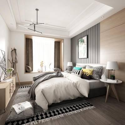 单人床, 床头柜, 窗帘, 装饰品, 挂画, 吊灯, 衣柜