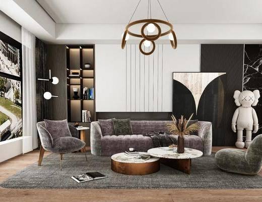 现代客厅, 轻奢客厅, 沙发, 茶几, 吊灯
