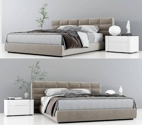 意大利Minotti现代双人床, 床头柜