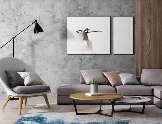 北欧简约, 沙发茶几组合, 落地灯, 装饰画, 北欧