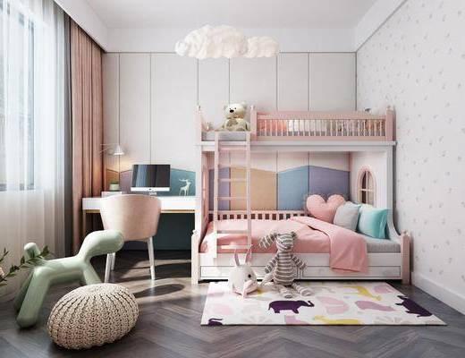 现代儿童房, 儿童房, 上下床