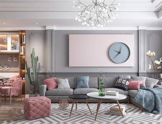 客厅, 沙发组合, 茶几, 沙发凳, 植物, 盆栽, 吊灯, 书籍, 摆件组合, 陈饰品, 鞋柜, 北欧, 北欧客厅
