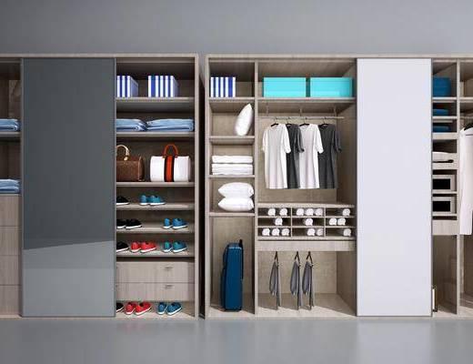 中式实木衣柜, 中式, 衣柜, 衣服, 鞋子, 行李箱