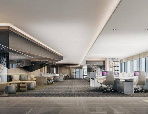 现代, 办公室, 办公桌, 办公椅, 沙发, 茶几