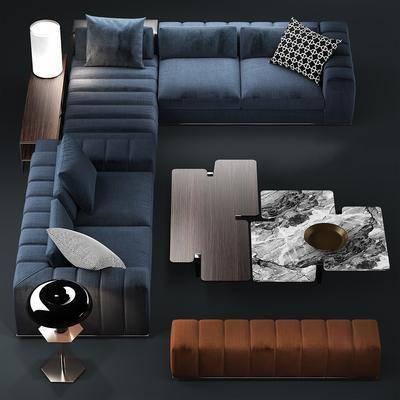 现代, 意大利, 沙发, 组合