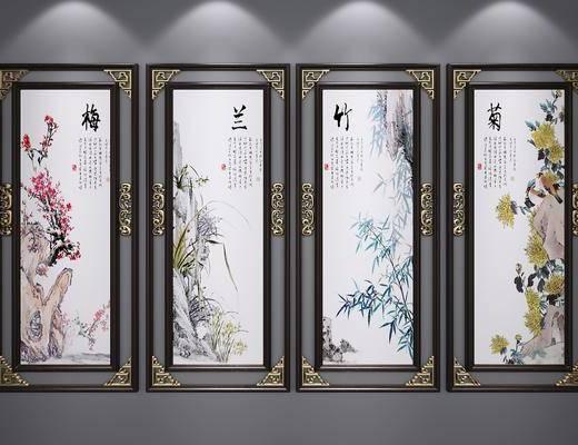 山水画, 装饰画, 挂画, 水墨画, 艺术画, 端景画, 新中式