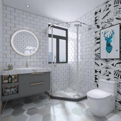 卫浴, 洗手盆, 壁镜, 马桶, 装饰画