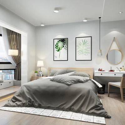 北歐臥室, 床具組合, 書桌, 單椅, 書柜, 擺件組合, 掛畫