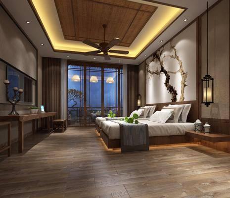 新中式酒店客房, 新中式客房, 新中式床具, 床头柜, 桌子, 吊扇, 吊灯
