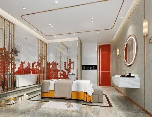 SPA桑拿, 单人床, 洗手台, 浴缸, 壁灯, 装饰柜, 装饰画, 挂画, 装饰镜, 装饰品, 陈设品, 现代