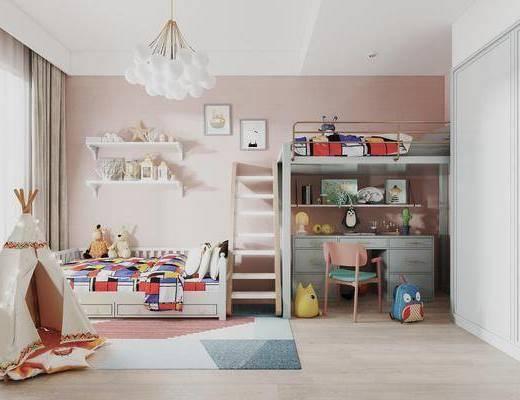 现代, 儿童房, 上下床, 书桌椅, 地毯, 玩具, 帐篷