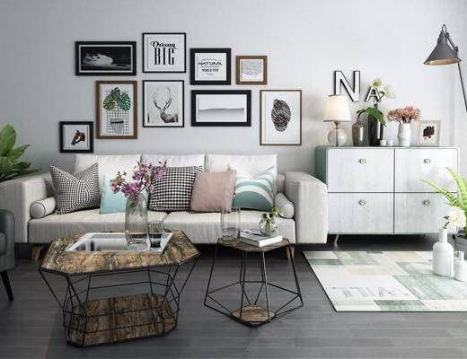沙发组合, 多人沙发, 茶几, 边柜, 组合画, 装饰画, 挂画, 花瓶花卉, 摆件, 装饰品, 陈设品, 壁灯, 北欧