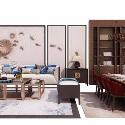 沙发, 茶几, 墙饰, 酒柜, 置物柜, 餐桌, 椅子, 单椅, 沙发凳, 边几, 台灯, 新中式