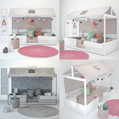 儿童床, 摆件, 现代, 床, 地毯, 装饰画