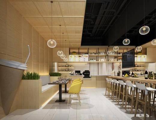 奶茶店, 吧台椅组合, 卡座组合, 吊灯组合, 装饰架组合, 餐具组合, 摆件组合, 现代