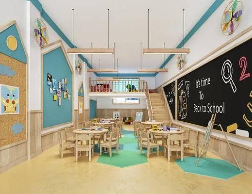 幼儿园, 吊灯, 现代, 椅子, 桌子, 黑板, 装饰墙, 照片