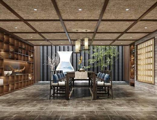 茶室, 花架, 博古架, 中式桌椅