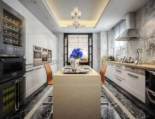 厨房, 吧台, 椅子, 消毒柜, 厨房用品, 厨房用具, 厨具