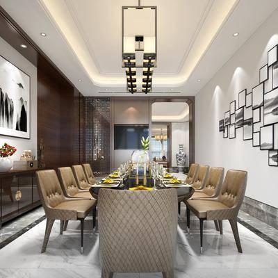 餐厅, 餐桌, 摆件, 装饰画, 吊灯, 边柜, 新中式