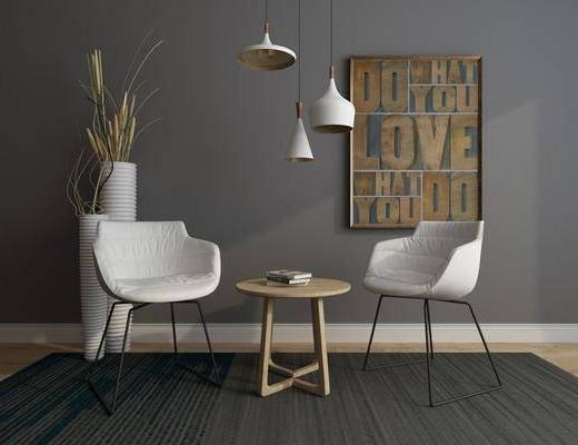 休闲椅, 吧椅, 单人椅, 茶几, 吊灯, 装饰画, 挂画, 现代