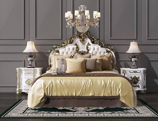 床具组合, 双人床, 床头柜, 台灯, 吊灯, 吊灯组合, 欧式