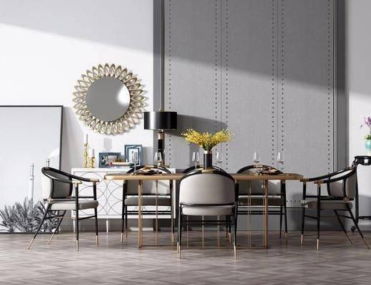 桌椅组合, 餐桌, 餐椅, 单人椅, 餐具, 装饰画, 墙饰, 边柜, 现代