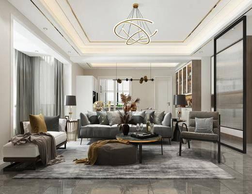 沙发组合, 茶几, 单椅, 吊灯, 餐桌, 冰箱