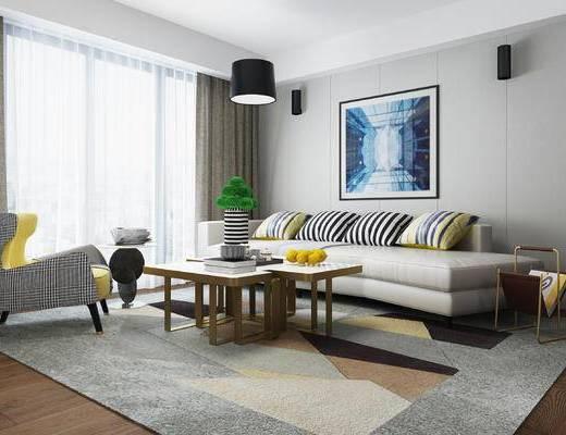 沙发, 沙发组合, 茶几, 装饰画, 沙发茶几组合, 吊灯, 现代
