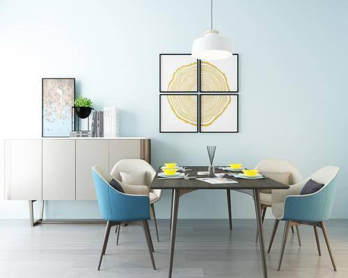 餐桌椅, 椅子, 餐具, 装饰品, 装饰画