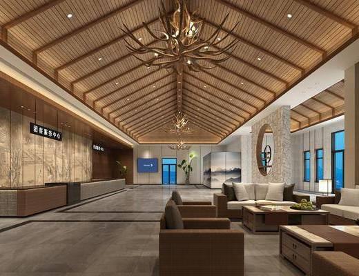 接待大厅, 多人沙发, 双人沙发, 茶几, 单人沙发, 边几, 台灯, 盆栽, 绿植植物, 前台, 吊灯, 新中式
