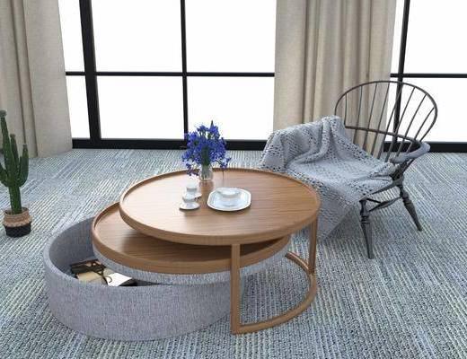 圆形茶几, 单人椅, 绿植, 花卉, 休闲椅, 现代