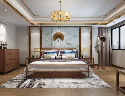 新中式卧室, 卧室, 床具, 双人床, 边柜, 衣架, 床头柜, 墙饰, 台灯, 吊灯, 新中式吊灯