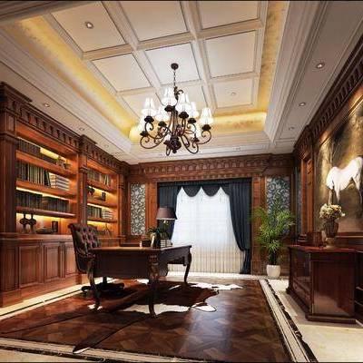 书房, 书桌, 单人椅, 吊灯, 边柜, 装饰柜, 书柜, 书籍, 台灯, 绿植, 装饰画, 摆件, 挂画, 盆栽, 植物, 欧式